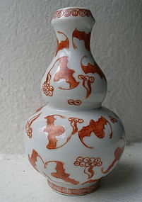Small QING Iron Red Porcelain Gourd Vase with Bat Decor