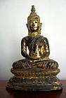 Thai Bronze Buddha Dhyana Mudra/in deep meditation pose