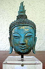 Fine CHIENGSAEN Thai Bronze Buddha Head, 14th Cent.