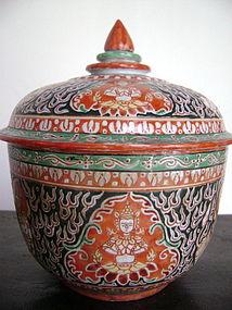 Sino-Siamese Porcelain Benjarong Jar with original lid