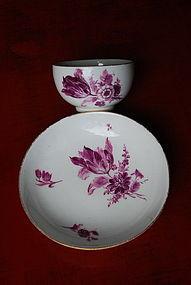 6 Meissen-Marcolini Mocha Porcelain Cups & Saucers