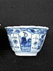 """KANGXI Blue & White Porcelain """"Long Elizas"""" Tea Bowl"""