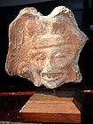 CHOLULA Mexican Terracotta Figural Head of God/Deity