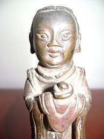 MING BRONZE Statuette of a TAOIST DEITY with Offering