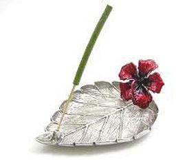 Pewter Leaf Incense Holder w Red Enamel Hibiscus Flower
