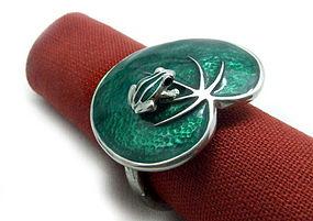 Pewter Napkin Ring with Enamel Frog on Lotus Leaf