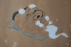 Meiji Period Painting of NOH Theater Mask of OKINA HONO