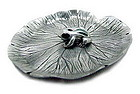 Pewter Lotus Leaf Incense Holder with Enamel Frog