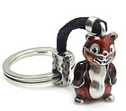 Pewter Key Chain with cute Enamel Chipmunk !