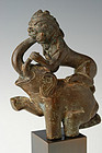 Mandalay BRONZE ELEPHANT and TIGER in Combat, 19th C.