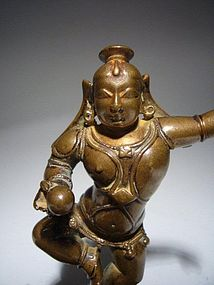 Spectacular Dancing Bronze KRISHNA, India, 17th Cent.