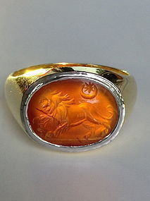 Roman INTAGLIO Ring with Lion, 1-2 Century AD