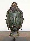 SUKKOTHAI BRONZE BUDDHA HEAD Mounted