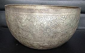 Antique Large THAI SILVER CEREMONIAL BOWL 19th Century