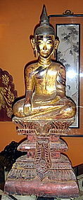 CAMBODIAN WOODEN BUDDHA ON STEPPED THRONE