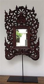 Exceptionally Fine BURMESE WOODCARVING-MIRROR