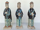 A rare set of 3 MING Dynasty Tomb Pottery Court Ladies