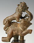 Mandalay BRONZE ELEPHANT & TIGER Statue 19th Cent.