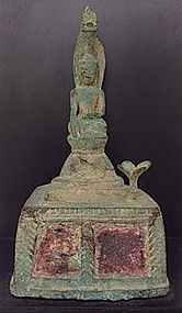 BRONZE BUDDHA & THE NAGA KING MUCALINDA 17/18thC.