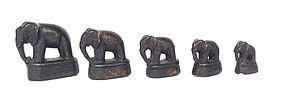 Set of graduated Ancient Bronze Elephant Opium Weights