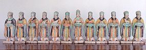 Rare and Complete Set of 12 Zodiac Tomb Pottery Priests, MING Dynasty