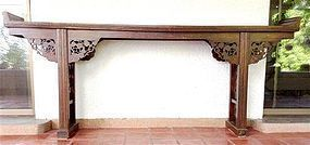 Chinese Elm Wood Altar Table/Console, 19th Century