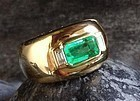 Genuine Octagonal Emerald and Diamond Ring 18K Gold
