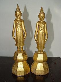 "Rare Pair 19th Century Thai Buddhas ""Calling for Rain"""
