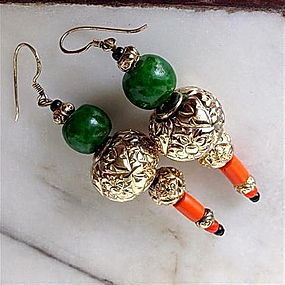 Peking Glass Green Leopard Guru Beads Earrings