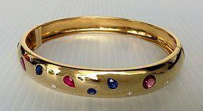 Genuine Blue Sapphire/Diamond/Ruby BANGLE, 18K. GOLD