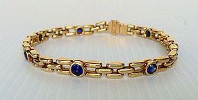 Solid 18K. GOLD Link Bracelet with Blue Sapphires