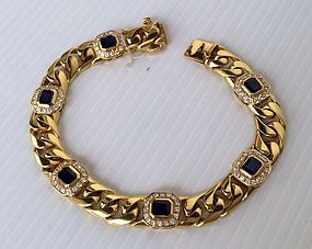 Solid 18K. GOLD Link-Chain Bracelet with Sapphires/Dia.