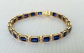 Stunning Blue Sapphire & Diamond Bracelet, 18K. Gold
