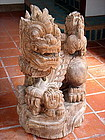 Large Woodcarving of SINGHA LION WITH CUBS