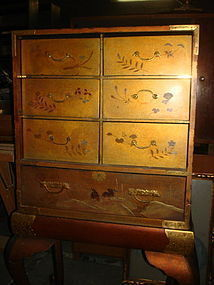 MEIJI Gold Lacquered 2-Piece Cabinet with Support Table