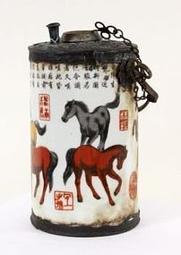 CHINESE PORCELAIN OPIUM WATER PIPE WITH COLORFUL HORSES