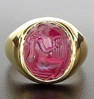 Bactrian INTAGLIO GOLD RING with Angel, 1-2 Cent. BC