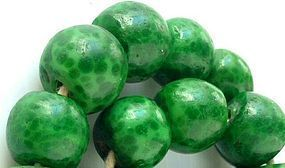 Individual Antique QING Dynasty Green Peking Glass Leopard Guru Beads