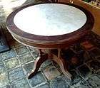 ROUND CHINESE WOODEN TABLE WITH ORIGINAL GENUINE MARBLE TOP, 19th Cent