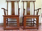 PAIR OF SHANXI ELM WOOD CHAIRS, 19th CENTURY, CHINA