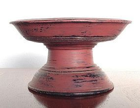 Small Cinnabar Red Lacquer Offering Tray, 19th Century, Thailand