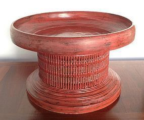 Giant Cinnabar Red Lacquer Offering Tray, 19th Century, Thailand