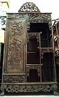 ANTIQUE CHINESE ROSEWOOD OPEN ETAGERE DISPLAY CABINET WITH CLOSET