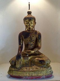 LARGE WOODEN AMARAPURA BUDDHA, 18th CENTURY, BURMA