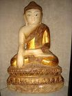 MARBLE SHAKYAMUNI SHAN BUDDHA SUBDUING MARA, 18/19th Cent. BURMA