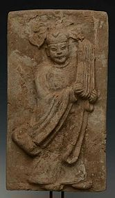 JIN DYNASTY SHANXI TOMB BRICK  OF MUSICIAN, CHINA (1115-1234 A.D.)