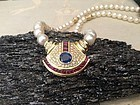 CULTURED JAPANESE PEARL NECKLACE SET WITH GEMSTONES