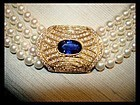 CULTURED JAPANESE PEARL NECKLACE WITH BLUE SAPPHIRE