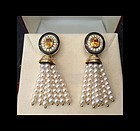 Fabulous Japanese Cultured Pearl TASSEL EARRINGS with Yellow Sapphires