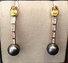 TAHITI BLACK PEARL, DIAMOND & YELLOW SAPPHIRE EARRINGS 18K. GOLD